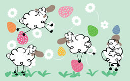 Easter sheeps. Vector illustration of easter background with sheeps, eggs and flowers Stock Photos