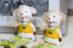 Easter sheeps or lambs decoration Stock Photo