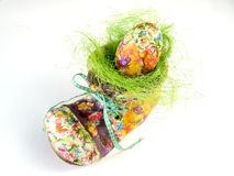 Easter Shoe With Colorful Egg Stock Image
