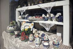 Easter showcases in the old town, decorated with eggs, souvenirs and willows. WARSAW, POLAND - APRIL 28, 2018: Easter showcases in the old town, decorated with royalty free stock image