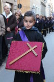 Easter in Sicily, Holy Friday - Child in Procession - Italy Stock Photo