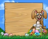 Easter Sign Bunny Eggs Background stock illustration