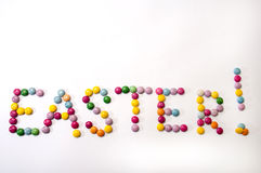 Easter sign of the colored chocolate candies Royalty Free Stock Photo