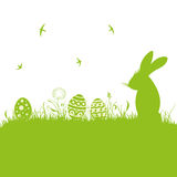 Easter, silhouette, meadow. Colorful easter background, with easter bunny and eggs Stock Photo