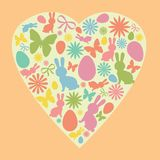 Easter Bunny, Egg, Flowers and Butterfly Silhouettes shaped as a Heart. Cute Easter Silhouettes in Pastel Colors. royalty free illustration