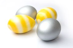 Easter, Silver and yellow egg Royalty Free Stock Photo
