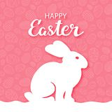 Easter simple postcard. Outlines of a hare in profile on a red background with a pattern of eggs. With congratulatory inscription. stock illustration