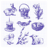 Easter sketch set. Easter set. Hand drawn illustrations Royalty Free Stock Photography