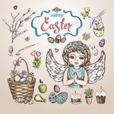 Easter_sketch. Easter set. Hand drawn realistic sketch. Vector llustration stock illustration