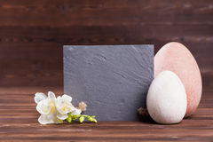 Easter slate board. Slate board with easter eggs decoration stock image