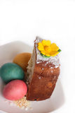 Easter. Slice of Easter and colored eggs. Vertical photo Royalty Free Stock Image