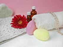 Easter spa  cosmetic products. stock photos