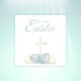 Easter speckled eggs and cross on panel Royalty Free Stock Photography