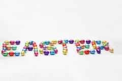 Easter spelled in easter eggs royalty free stock image
