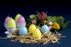 Easter and spring. Easter eggs and flowers from spring royalty free stock photos