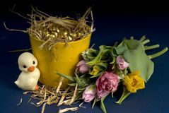 Easter and spring. Easter eggs and flowers from spring and a duck stock photo