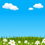 Easter or Spring Background. With green grass and flowers. Useful also as Easter greeting card. Eps file available royalty free illustration