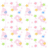 Easter spring background. Pink Stripped seamless easter / spring background pattern easter eggs and cute spring flowers Royalty Free Stock Images