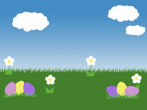 Easter spring background with eggs blue sky green grass and white flowers and clouds illustration Stock Photography