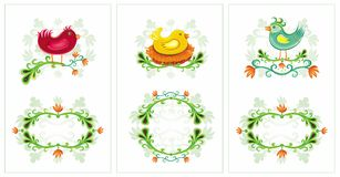 Easter spring birds cards 1 Stock Photos