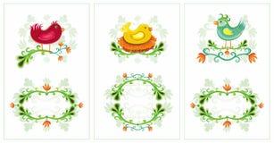 Easter Spring Birds Cards 1 Stock Photos