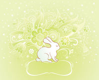 Easter card with rabbit. Easter spring card with rabbit and flowers Royalty Free Stock Photos