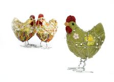 Easter , spring chicken decor. Set of hand made spring chicken - easter, seasonal decoration isolated on white Stock Photography