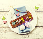 Easter Spring Concept. Eggs with wooden Butterflies on Plate on Royalty Free Stock Photos