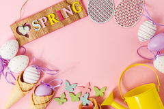 Easter Spring Concept. Flat Lay or Top View of Easter Eggs and I Stock Photography
