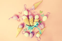 Easter Spring Concept. Flat Lay or Top View of Easter Eggs and I Royalty Free Stock Image