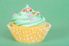 Easter spring cupcake on green background. Pastel color Easter spring cupcake with sprinkles against green background, copy space Stock Photography