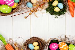 Easter or spring decor double border over white wood Royalty Free Stock Images