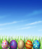 Easter Spring Decoration. With decorated traditionally painted eggs as a cultural and religious celebration of renewal and hope  as a symbol of an egg hunt game Royalty Free Stock Photo