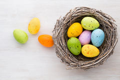 Easter and spring decoration, catkins and eggs Stock Photography