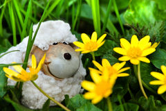 Easter- or spring decoration - funny little sheep Stock Photos