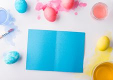 Easter and spring flat lay on a white background. Copy space. Royalty Free Stock Photo