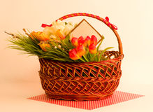 Easter spring flowers in basket Royalty Free Stock Photo