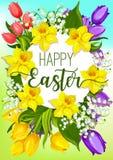 Easter spring flowers cartoon poster design Stock Image