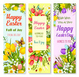 Easter spring flowers and eggs greeting banner set Stock Photo