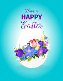 Easter spring flowers paschal egg vector greeting Royalty Free Stock Images