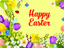 Easter spring flowers paschal eggs vector greeting Royalty Free Stock Image