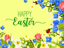 Easter spring flowers wreath vector greeting card Royalty Free Stock Images