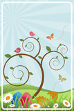 Easter spring frame. Illustration of a easter spring landscape in a frame whit a tree, birds, bueetrfly, easter eggs.Useful as greeting card.EPS file available Royalty Free Stock Photo