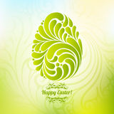 Easter spring green background with abstract ornate egg Stock Photos