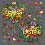 Easter and Spring hand lettering and doodles Royalty Free Stock Images