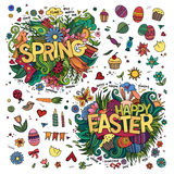 Easter and Spring hand lettering and doodles Royalty Free Stock Photography