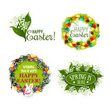Easter spring holiday cartoon badge set design Royalty Free Stock Image