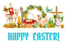 Easter spring holiday cartoon banner design Stock Images