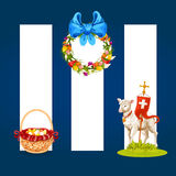 Easter spring holiday cartoon banner set Royalty Free Stock Photos