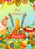 Easter spring holiday cartoon greeting card design Royalty Free Stock Photo